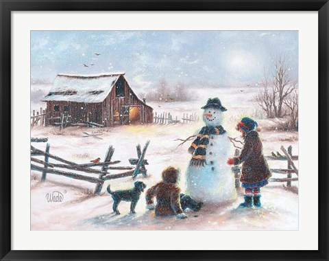 Framed Happy Snowman Print