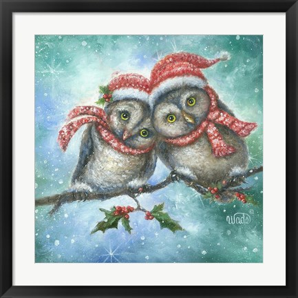 Framed Owl I Want for Christmas is You! Print