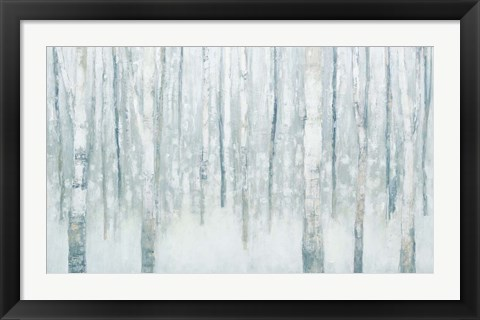 Framed Birches in Winter Blue Gray Print
