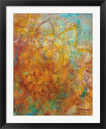Framed Bohemian Abstract Bright Crop Print