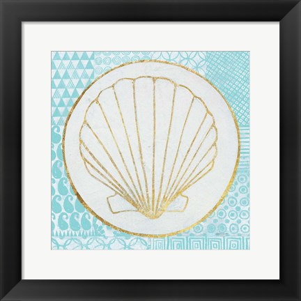 Framed Summer Shells II Teal and Gold Print