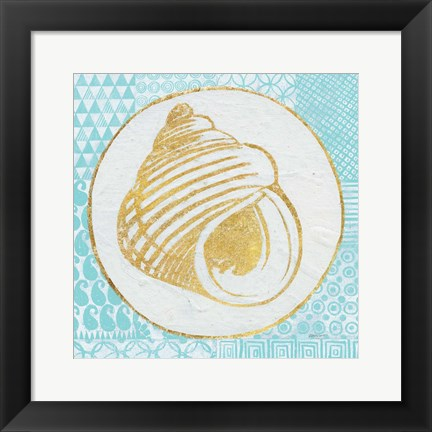 Framed Summer Shells III Teal and Gold Print