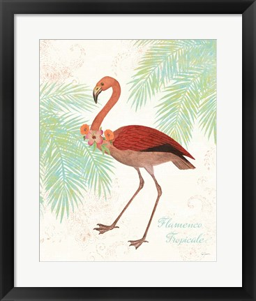 Framed Flamingo Tropicale II Print