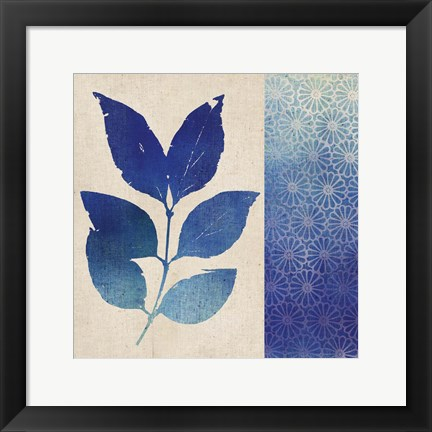 Framed Indigo Leaves I Print
