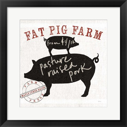 Framed Farm Linen Pig Black Print