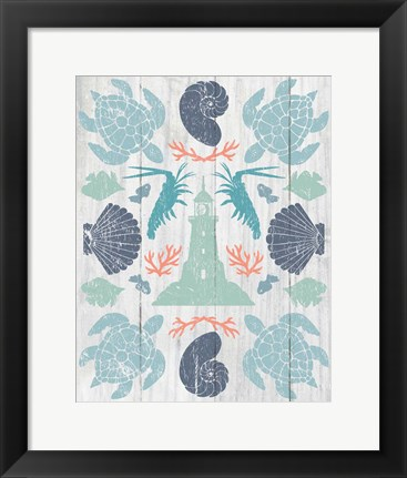 Framed Coastal Otomi III on Wood Print