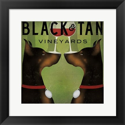 Framed Black and Tan Vineyards Print