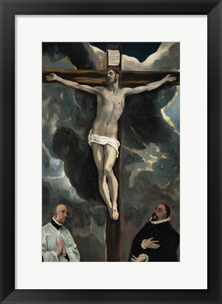 Framed Crucifixion with Two Donors Print