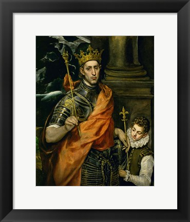 Framed Saint Louis, King of France, and a Pageboy Print