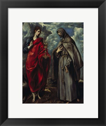 Framed Saints John and Francis of Assisi c. 1600 Print
