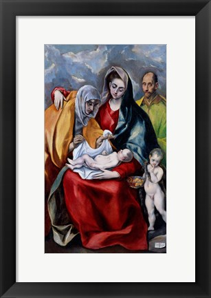 Framed Holy Family with Saint Anne, Saint Joseph and the child Saint John the Baptist Print