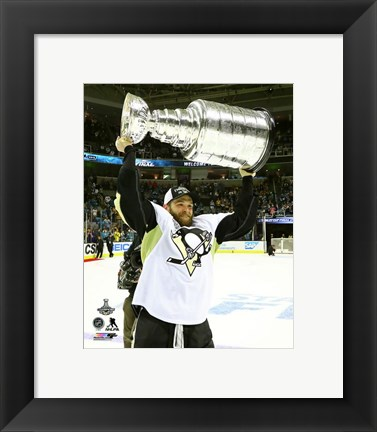 Framed Bryan Rust with the Stanley Cup Game 6 of the 2016 Stanley Cup Finals Print