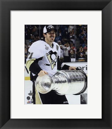 Framed Evgeni Malkin with the Stanley Cup Game 6 of the 2016 Stanley Cup Finals Print