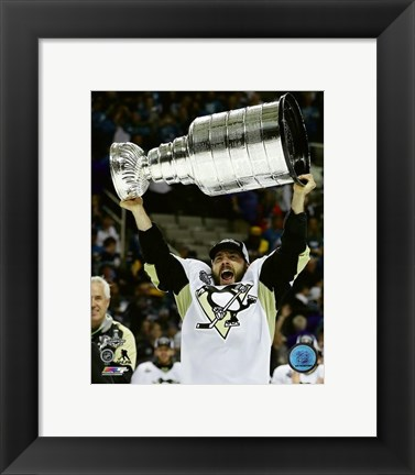 Framed Kris Letang with the Stanley Cup Game 6 of the 2016 Stanley Cup Finals Print