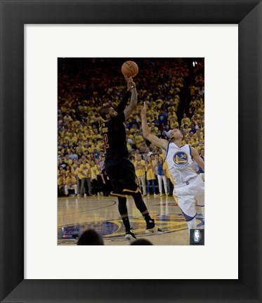 Framed Kyrie Irving Three Pointer Game 7 of the 2016 NBA Finals Print