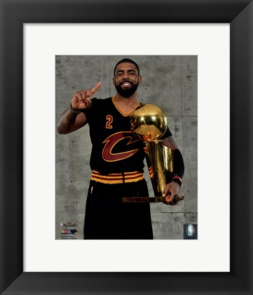Framed Kyrie Irving with the NBA Championship Trophy Game 7 of the 2016 NBA Finals Print