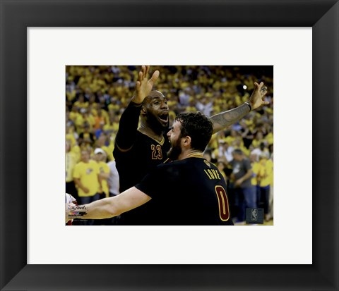 Framed Lebron James & Kevin Love celebrate winning Game 7 of the 2016 NBA Finals Print