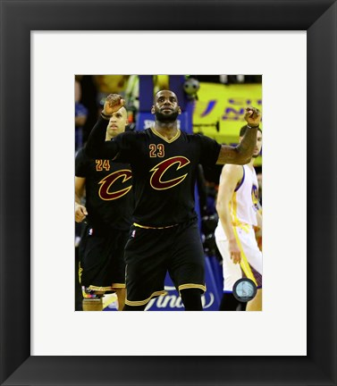 Framed Lebron James celebrates Game 7 of the 2016 NBA Finals Print