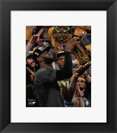 Framed Lebron James with the NBA Championship Trophy Game 7 of the 2016 NBA Finals Print