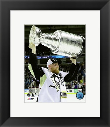 Framed Patric Hornqvist with the Stanley Cup Game 6 of the 2016 Stanley Cup Finals Print