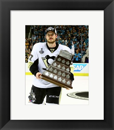 Framed Sidney Crosby with Conn Smythe Trophy Game 6 of the 2016 Stanley Cup Finals Print