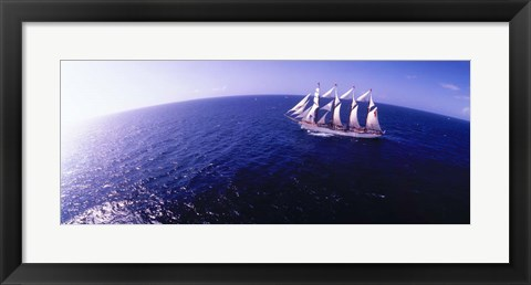 Framed Tall Ship at Sea, Puerto Rico Print