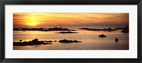 Framed Sunset over Lillia, Brittany, France Print