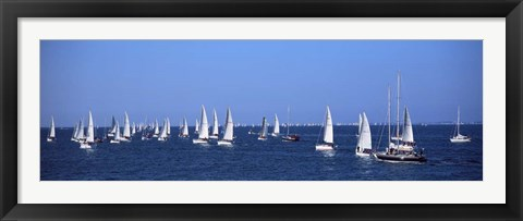 Framed Boats in Regatta, Brittany, France Print