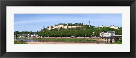 Framed Chinon and its Castle, Vienne River, France Print