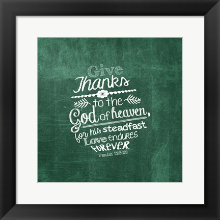 Framed Psalm 136:26, Give Thanks (Green) Print