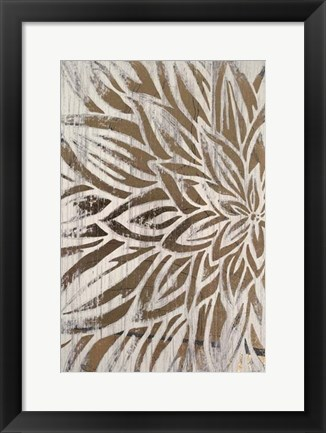 Framed Barnwood Bloom I - Metallic Foil Print
