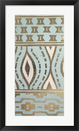 Framed Tribal Pattern in Turquoise II - Metallic Foil Print