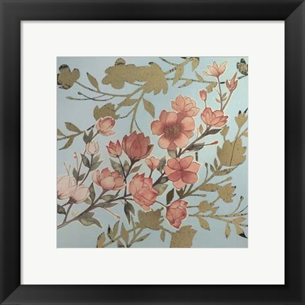 Framed Golden Cherry Blossoms I - Metallic Foil Print