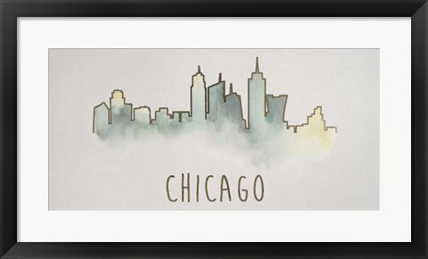 Framed Goldleaf City Silhouette II - Metallic Foil Print