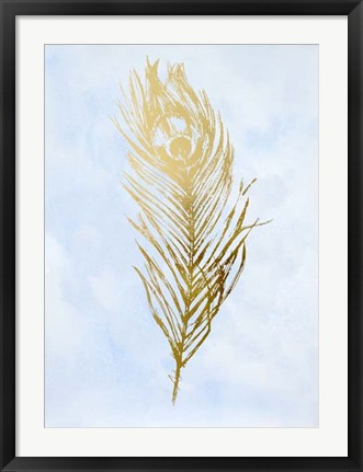 Framed Gold Foil Feather II on Blue - Metallic Foil Print