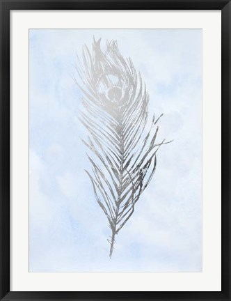Framed Silver Foil Feather II on Blue - Metallic Foil Print