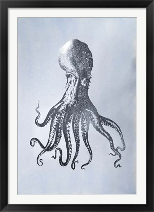 Framed Silver Foil Octopus I on Blue Wash - Metallic Foil Print