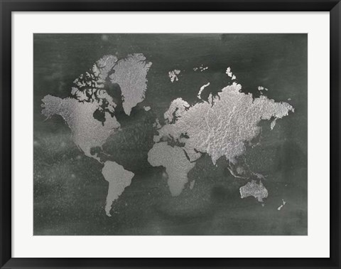 Framed Silver Foil World Map on Black - Metallic Foil Print