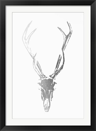 Framed Silver Foil Rustic Mount I on White - Metallic Foil Print