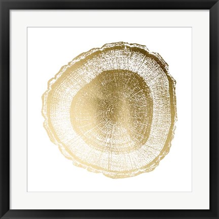 Framed Gold Foil Tree Ring I - Metallic Foil Print