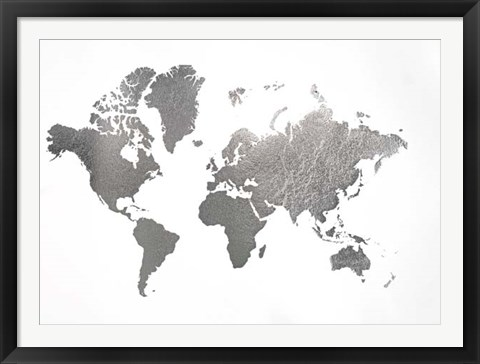 Framed Large Silver Foil World Map - Metallic Foil Print