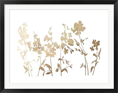Framed Gold Foil Flower Field - Metallic Foil Print