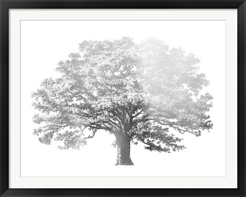 Framed Silver Foil Elephant Tree - Metallic Foil Print