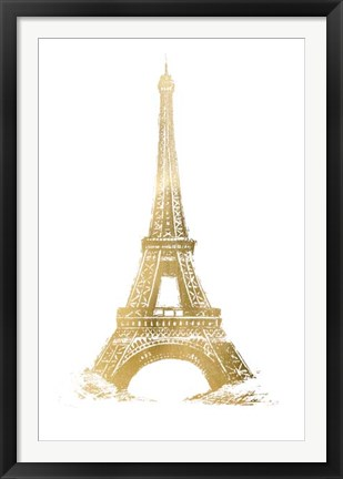 Framed Gold Foil Eiffel Tower - Metallic Foil Print