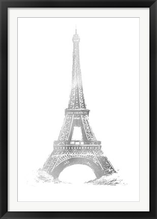 Framed Silver Foil Eiffel Tower - Metallic Foil Print