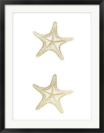Framed 2-Up Gold Foil Starfish II - Metallic Foil Print