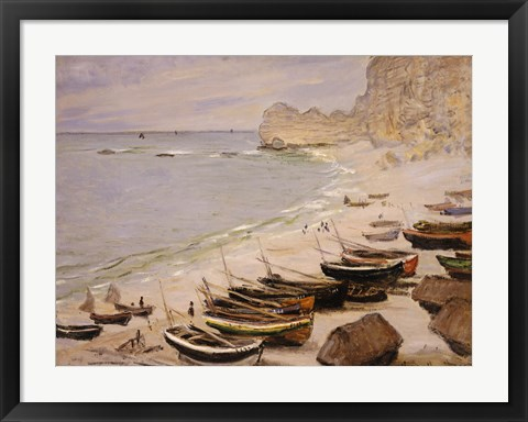 Framed Boats on the Beach at Etretat, 1883 Print