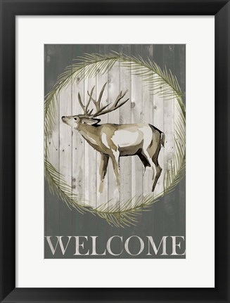 Framed Woodland Welcome I Print