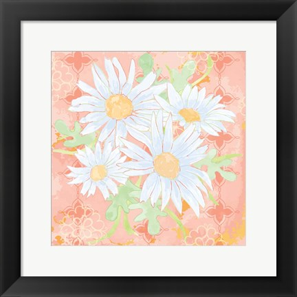 Framed Daisy Patch Coral I Print