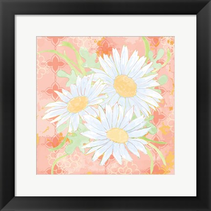 Framed Daisy Patch Coral II Print